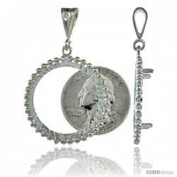 Sterling Silver 24 mm Quarter Dollar (25 Cents) Coin Frame Bezel Pendant w/ Beaded Edges (COIN is NOT Included)