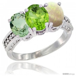 14K White Gold Natural Green Amethyst, Peridot & Opal Ring 3-Stone 7x5 mm Oval Diamond Accent