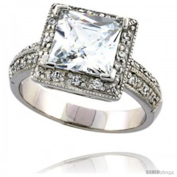 Sterling Silver Vintage Style Halo Style Cubic Zirconia Ring with 7 mm (2 carat size) Princess Cut CZ Center Stone, 3/8 in