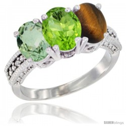 14K White Gold Natural Green Amethyst, Peridot & Tiger Eye Ring 3-Stone 7x5 mm Oval Diamond Accent