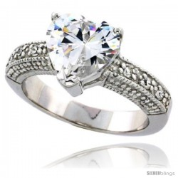 Sterling Silver Vintage Style Cubic Zirconia Ring with 8 mm (2 carat size) Heart-shaped High Quality CZ Center Stone, 3/8 in