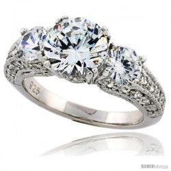 Sterling Silver Vintage Style Three-Stone Cubic Zirconia Ring with 7 mm (1 1/4 carat size) High Quality Bril -Style Rcj111