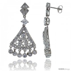 Sterling Silver CZ Chandelier Earrings, Fan Shape w/ Bead Drops, 1 5/8 in. (42 mm) tall