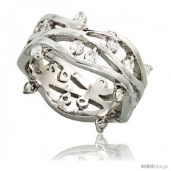 Sterling Silver Vine Pattern Cubic Zirconia Ring with High Quality Brilliant Cut CZ Stones, 3/8 in (10 mm) wide