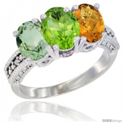14K White Gold Natural Green Amethyst, Peridot & Whisky Quartz Ring 3-Stone 7x5 mm Oval Diamond Accent
