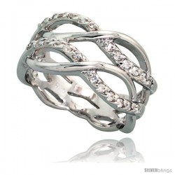 Sterling Silver Double Infinity Pattern Cubic Zirconia Ring with High Quality Brilliant Cut CZ Stones, 7/16 in (11 mm) wide