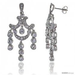 Sterling Silver CZ Chandelier Earrings w/ Triple Bead Drop, 1 3/4 in. (45 mm) tall