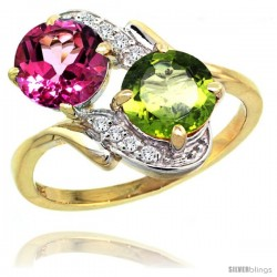 14k Gold ( 7 mm ) Double Stone Engagement Pink Topaz & Peridot Ring w/ 0.05 Carat Brilliant Cut Diamonds & 2.34 Carats Round