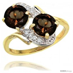 14k Gold ( 7 mm ) Double Stone Engagement Smoky Topaz Ring w/ 0.05 Carat Brilliant Cut Diamonds & 2.34 Carats Round Stones, 3/4