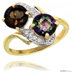 14k Gold ( 7 mm ) Double Stone Engagement Smoky & Mystic Topaz Ring w/ 0.05 Carat Brilliant Cut Diamonds & 2.34 Carats Round