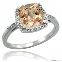 Sterling Silver Diamond Morganite Ring 2.08 ct Cushion cut 8 mm Stone 1/2 in wide