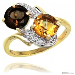 14k Gold ( 7 mm ) Double Stone Engagement Smoky Topaz & Citrine Ring w/ 0.05 Carat Brilliant Cut Diamonds & 2.34 Carats Round