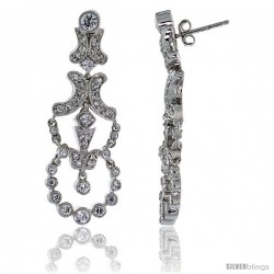 Sterling Silver CZ Chandelier Earrings w/ Wreath Drop, 1 11/16 in. (43 mm) tall
