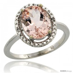 10k White Gold Diamond Morganite Ring 2.4 ct Oval Stone 10x8 mm, 1/2 in wide -Style Cw913114