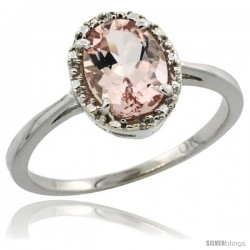 10k White Gold Diamond Halo Morganite Ring 1.2 ct Oval Stone 8x6 mm, 1/2 in wide