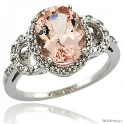 10k White Gold Diamond Halo Morganite Ring 2.4 ct Oval Stone 10x8 mm, 1/2 in wide