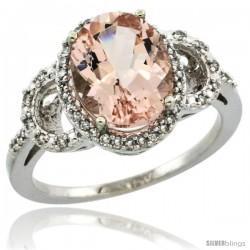 10k White Gold Diamond Halo Morganite Ring 2.4 ct Oval Stone 10x8 mm, 1/2 in wide