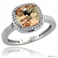 Sterling Silver Diamond Morganite Ring 2.08 ct Checkerboard Cushion 8mm Stone 1/2.08 in wide
