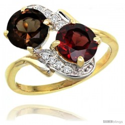 14k Gold ( 7 mm ) Double Stone Engagement Smoky Topaz & Garnet Ring w/ 0.05 Carat Brilliant Cut Diamonds & 2.34 Carats Round