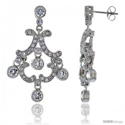 Sterling Silver CZ Chandelier Earrings -Style Che7