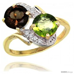 14k Gold ( 7 mm ) Double Stone Engagement Smoky Topaz & Peridot Ring w/ 0.05 Carat Brilliant Cut Diamonds & 2.34 Carats Round