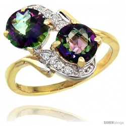 14k Gold ( 7 mm ) Double Stone Engagement Mystic Topaz Ring w/ 0.05 Carat Brilliant Cut Diamonds & 2.34 Carats Round Stones