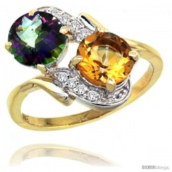 14k Gold ( 7 mm ) Double Stone Engagement Mystic Topaz & Citrine Ring w/ 0.05 Carat Brilliant Cut Diamonds & 2.34 Carats Round