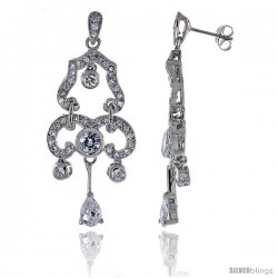 Sterling Silver CZ Chandelier Earrings w/ Pear Shape Drop, 2 in. (50 mm) tall