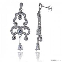 Sterling Silver CZ Chandelier Earrings w/ Pear Shape Drop, 2 in. (50 mm) tall