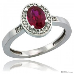 Sterling Silver Diamond Ruby Ring 1 ct 7x5 Stone 1/2 in wide