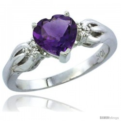 14k White Gold Ladies Natural Amethyst Ring Heart 1.5 ct. 7x7 Stone Diamond Accent