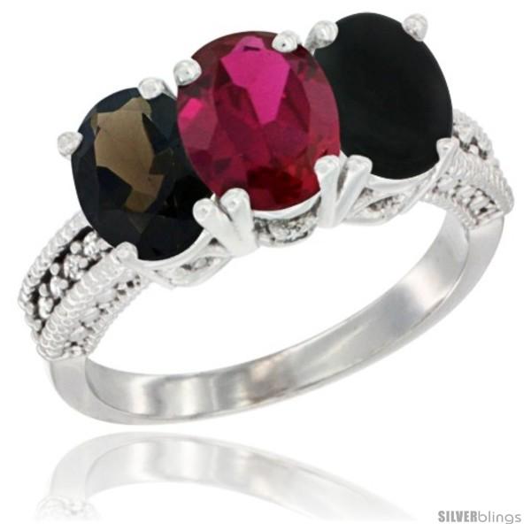 https://www.silverblings.com/88264-thickbox_default/10k-white-gold-natural-smoky-topaz-ruby-black-onyx-ring-3-stone-oval-7x5-mm-diamond-accent.jpg