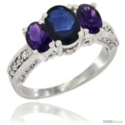 14k White Gold Ladies Oval Natural Blue Sapphire 3-Stone Ring with Amethyst Sides Diamond Accent