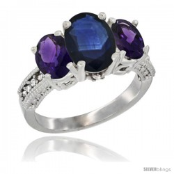 14K White Gold Ladies 3-Stone Oval Natural Blue Sapphire Ring with Amethyst Sides Diamond Accent
