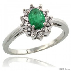 Sterling Silver Natural Emerald Diamond Halo Ring Oval Shape 1.2 Carat 6X4 mm, 1/2 in wide