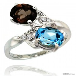 14k White Gold ( 8x6 mm ) Double Stone Engagement Swiss Blue & Smoky Topaz Ring w/ 0.04 Carat Brilliant Cut Diamonds & 2.34