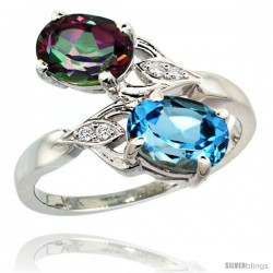 14k White Gold ( 8x6 mm ) Double Stone Engagement Swiss Blue & Mystic Topaz Ring w/ 0.04 Carat Brilliant Cut Diamonds & 2.34