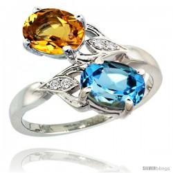 14k White Gold ( 8x6 mm ) Double Stone Engagement Swiss Blue Topaz & Citrine Ring w/ 0.04 Carat Brilliant Cut Diamonds & 2.34