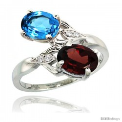 14k White Gold ( 8x6 mm ) Double Stone Engagement Swiss Blue Topaz & Garnet Ring w/ 0.04 Carat Brilliant Cut Diamonds & 2.34