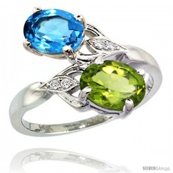 14k White Gold ( 8x6 mm ) Double Stone Engagement Swiss Blue Topaz & Peridot Ring w/ 0.04 Carat Brilliant Cut Diamonds & 2.34