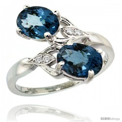 14k White Gold ( 8x6 mm ) Double Stone Engagement London Blue Topaz Ring w/ 0.04 Carat Brilliant Cut Diamonds & 2.34 Carats