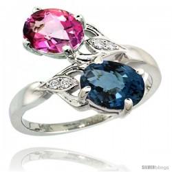 14k White Gold ( 8x6 mm ) Double Stone Engagement London Blue & Pink Topaz Ring w/ 0.04 Carat Brilliant Cut Diamonds & 2.34
