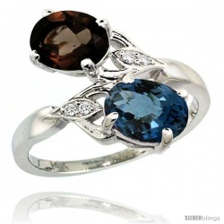 14k White Gold ( 8x6 mm ) Double Stone Engagement London Blue & Smoky Topaz Ring w/ 0.04 Carat Brilliant Cut Diamonds & 2.34