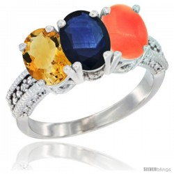 14K White Gold Natural Citrine, Blue Sapphire & Coral Ring 3-Stone 7x5 mm Oval Diamond Accent