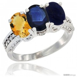 14K White Gold Natural Citrine, Blue Sapphire & Lapis Ring 3-Stone 7x5 mm Oval Diamond Accent