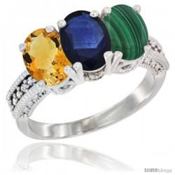 14K White Gold Natural Citrine, Blue Sapphire & Malachite Ring 3-Stone 7x5 mm Oval Diamond Accent