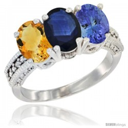 14K White Gold Natural Citrine, Blue Sapphire & Tanzanite Ring 3-Stone 7x5 mm Oval Diamond Accent