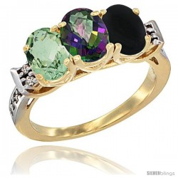 10K Yellow Gold Natural Green Amethyst, Mystic Topaz & Black Onyx Ring 3-Stone Oval 7x5 mm Diamond Accent