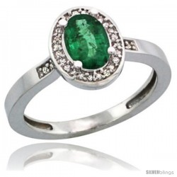 Sterling Silver Diamond Natural Emerald Ring 1 ct 7x5 Stone 1/2 in wide