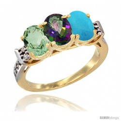 10K Yellow Gold Natural Green Amethyst, Mystic Topaz & Turquoise Ring 3-Stone Oval 7x5 mm Diamond Accent